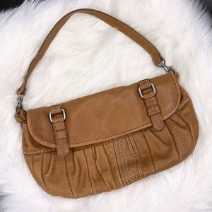 Fossil Leather Stitched Buckle Convertible Purse